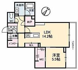 アントゥール B 2階1LDKの間取り