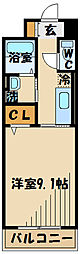JR南武線 矢川駅 徒歩13分の賃貸マンション 2階1Kの間取り
