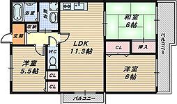大阪府堺市西区下田町の賃貸マンションの間取り