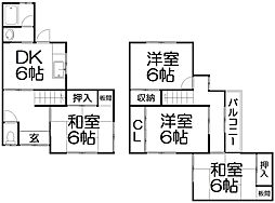[一戸建] 大阪府枚方市長尾元町3丁目 の賃貸【/】の間取り