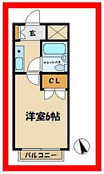 西武多摩川線 競艇場前駅 徒歩1分の賃貸マンション 4階1Kの間取り