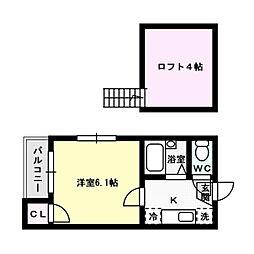 福岡県福岡市博多区諸岡4丁目の賃貸アパートの間取り