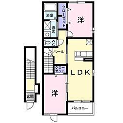 愛知県豊橋市下地町字柳目の賃貸アパートの間取り