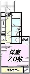 JR南武線 矢川駅 徒歩6分の賃貸アパート 1階1Kの間取り
