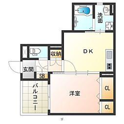 阪神なんば線 千鳥橋駅 徒歩13分の賃貸アパート 3階1DKの間取り
