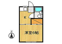 タカシタコーポA棟[202号室]の間取り
