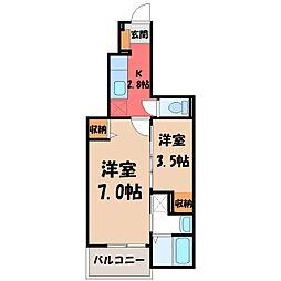 栃木県宇都宮市越戸1の賃貸アパートの間取り