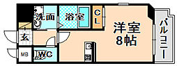 JR福知山線 伊丹駅 徒歩9分の賃貸マンション 5階ワンルームの間取り