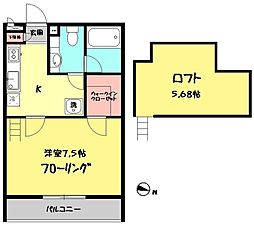 東京都西東京市富士町2丁目の賃貸アパートの間取り