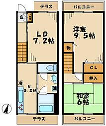 [テラスハウス] 東京都八王子市松木 の賃貸【/】の間取り