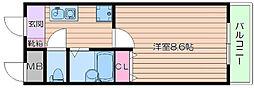 阪急千里線 千里山駅 徒歩18分の賃貸マンション 2階1Kの間取り
