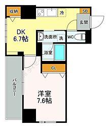 サンパール弐番館 2階1DKの間取り