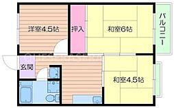 大阪府箕面市西小路2丁目の賃貸マンションの間取り