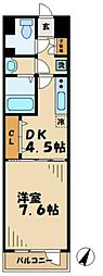 京王相模原線 京王多摩センター駅 徒歩10分の賃貸マンション 4階1DKの間取り