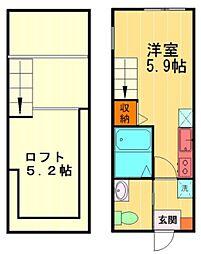 MarronTerasse吉祥寺 2階ワンルームの間取り
