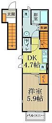 Grandeur70 2階1DKの間取り