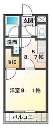 愛知県豊橋市上野町字新上野の賃貸マンションの間取り