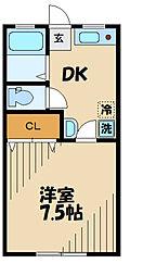 ドーム多摩 J棟 1階1Kの間取り