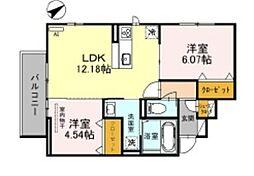 JR阪和線 三国ヶ丘駅 徒歩14分の賃貸アパート 2階2LDKの間取り