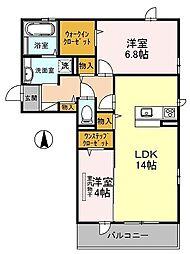 南海高野線 萩原天神駅 徒歩7分の賃貸アパート 1階2LDKの間取り