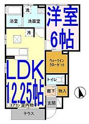 栃木県小山市犬塚7の賃貸アパートの間取り