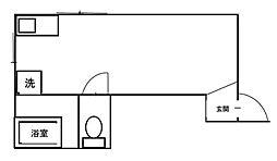 コーエイ石橋ビル 1階ワンルームの間取り