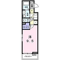 JR飯田線 船町駅 徒歩16分の賃貸アパート 2階1Kの間取り