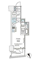 東京メトロ銀座線 表参道駅 徒歩12分の賃貸マンション 13階ワンルームの間取り