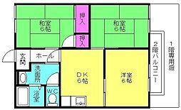 ドミール中島 A棟[103号室]の間取り