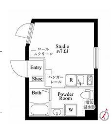 カーサピアッツァ西蒲田 3階ワンルームの間取り