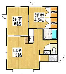 青山緑アパート[A号室]の間取り