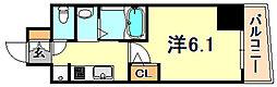 エステムコート神戸元町2ブリーズ 2階1Kの間取り