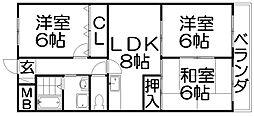 大阪府寝屋川市高倉2丁目の賃貸マンションの間取り