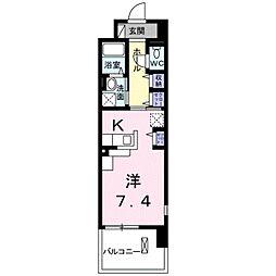 レジデンスTK 吉田 3階ワンルームの間取り