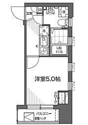 グランアセット早稲田 2階1Kの間取り