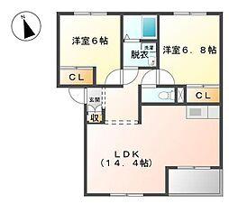 クロワサンスK[2階]の間取り