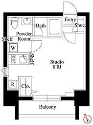 グランパセオ新大塚 3階ワンルームの間取り