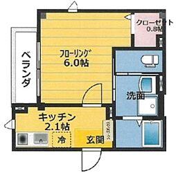 Apartmentさくら 1階1Kの間取り
