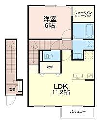 神奈川県川崎市多摩区菅稲田堤2丁目の賃貸アパートの間取り