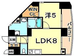 プリマヴェーラ甲南山手 6階1LDKの間取り
