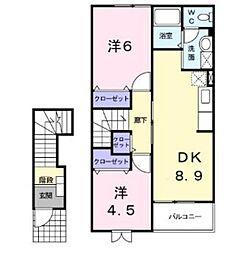 神奈川県座間市四ツ谷の賃貸アパートの間取り