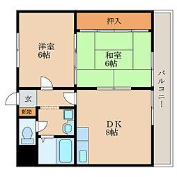 滋賀県野洲市野洲の賃貸マンションの間取り