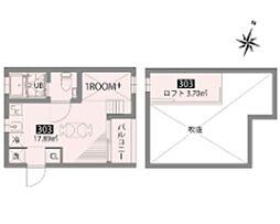 小田急小田原線 豪徳寺駅 徒歩6分の賃貸アパート 3階ワンルームの間取り