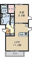 大阪府堺市堺区三条通の賃貸アパートの間取り