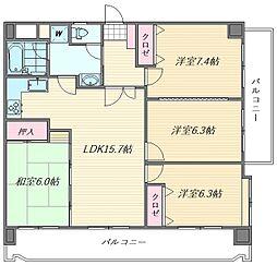 ライオンズマンション香椎宮参道第2[8階]の間取り