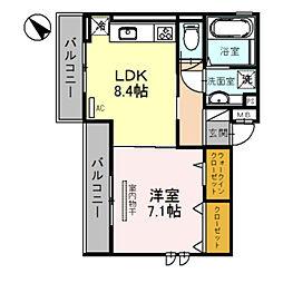 メゾン旭駅前 2階1LDKの間取り