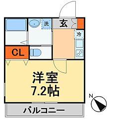 JR常磐線 新松戸駅 徒歩10分の賃貸アパート 2階1Kの間取り