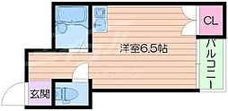 Osaka Metro谷町線 野江内代駅 徒歩5分の賃貸マンション 4階ワンルームの間取り