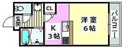 大阪モノレール本線 南摂津駅 徒歩28分の賃貸マンション 3階1Kの間取り