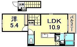 阪急今津線 門戸厄神駅 徒歩22分の賃貸アパート 2階1LDKの間取り